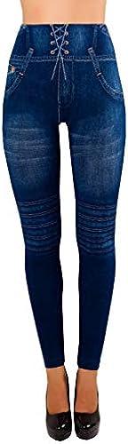 Damen Jeggings High Waist Leggings Hochbund Jeansoptik 5