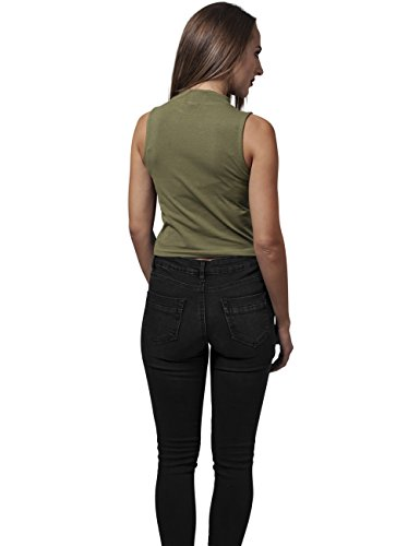 Urban Classics Damen Ladies Turtleneck Short Top Grün (olive 176)