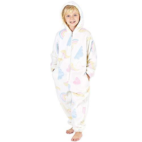 Pijamas de un Pieza Niño Niña Unicornio Conejo Koala Perro Gato Dinosaurio Pingüino Pijama Niños Niñas 2-14 Años (3-4 años, Blanco Brilla en la Oscuridad)