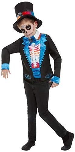 Fancy Ole - Jungen Boy Kinder Day of The Dead Anzug Kostüm im Knochen Frack Stil, Oberteil Fliege und Hut, perfekt für Halloween Karneval und Fasching, 122-134, Mehrfarbig