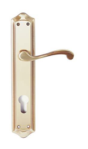 Manivela derecha de latón fabricado en España. Color latón antiguo. Barnizado semi-brillo. Medida placa: 275x52 mm.