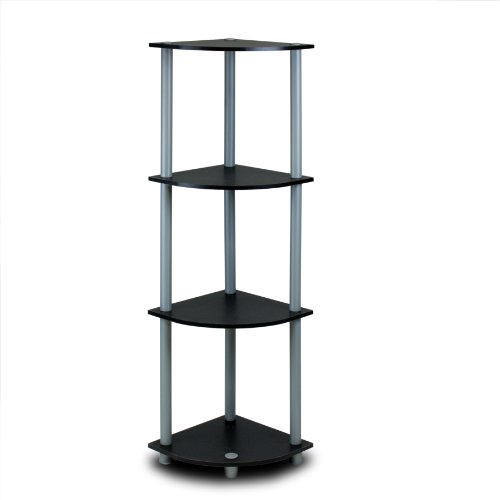 Furinno Laptoptisch 12078 vierflammig Ecke Display Rack Bücherregal Regal, schwarz/grau, W14 x D 14''x H 44''