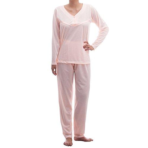 Lucky Damen Langarm Pyjama mit Paspel und Knopfleiste Apricot