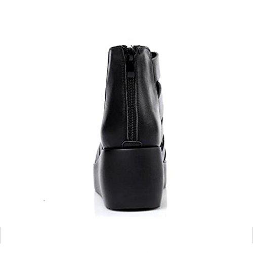 W&LM Sandali di cuoio delle donne Sandali dei sandali di Roma Tacchi alti Black