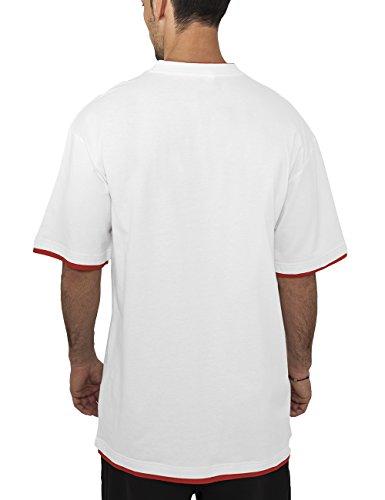 Urban Classics Herren T-shirt Bekleidung Contrast , White/Red