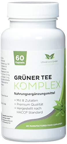 Lifood Swiss Grüner Tee Komplex, Mit 8 Zutaten, 60 Vegetarische Kapseln, 69 g - Extrakt Bohnen Kaffee Vitamine
