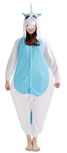 YARBAR Adulti Kigurumi Animal Tutina pigiami del Anime del costume di Halloween Cosplay Unicorn Onesie blu unicorno