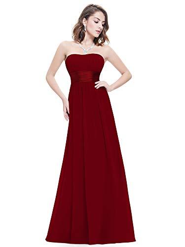 Ever Pretty Damen Empire Taille Schulterfrei Lange Abendkleider Brautjungfernkleid 44 Größe Burgundy -