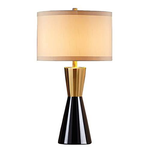 Wohnzimmer Tischlampe Schlafzimmer Nachttischlampe, Leinen Lampenschirm Hardware Keramik Lampenkörper, Beige Lampenschirm, Large Medium Small Lampen und Beleuchtung (Size : Small) -