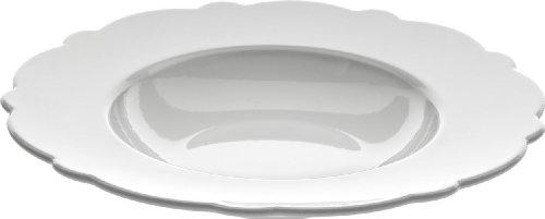 Alessi Mw01/2 Dressed Assiette Creuse en Porcelaine Blanche avec Décoration en Relief, Set de 4 Pièces