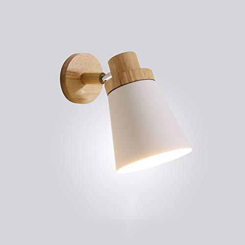 WngLei Lámpara de Pared Nordic Solid Wood Bedroom Lámpara de Pared Moderna...