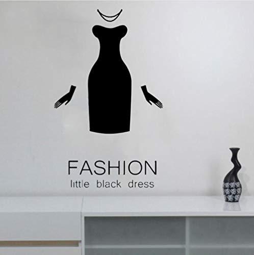 Qqasd Mode Little Black Dress Kleidung Schaufenster Aufkleber Vinyl Wohnkultur Boutique Kleid Handschuhe Wandaufkleber Abnehmbare 42x69 cm
