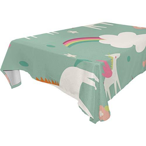 TIZORAX Magic Einhörner Regenbogen-Tischdecke aus Polyester für Küche, Esszimmer, Partys, Hochzeit, 137 x 137 cm, Polyester, Mehrfarbig, 60 x 60 Inch Square -