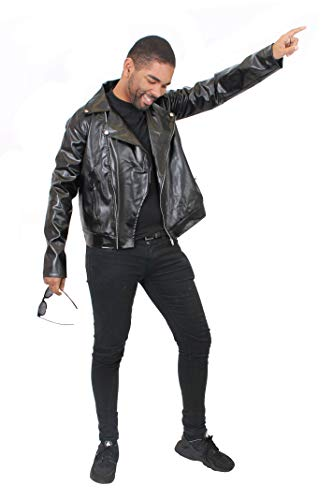 ILOVEFANCYDRESS Schwarze Kunstleder Jacke= Rock&ROLL Jail House Rock KOSTÜM VERKLEIDUNG = 50er+ 80iger=Rocker Musik VERKLEIDUNG FÜR Fasching +Karneval - Boy Rock Star Kostüm