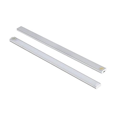 LESHP Lampes de Placard LED avec Détecteur de Mouvements Control par Touche Dimmable Alimenté par USB 21 LED Lamp Bar Ultra Slim Pour Penderie Penderie Grenier Corridor Salle d'eau (2 PCS) (Blanc 1)