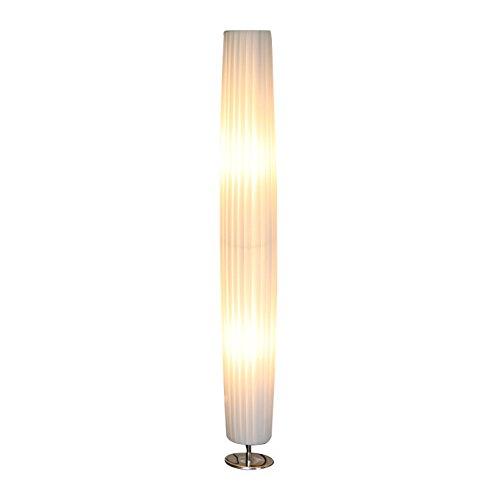 Steh-Lampe weiß mit verchromten Standfuß Höhe 120 cm rund | Sirap | Design Steh-Leuchte mit Plissee Schirm aus pflegeleichtem Latex | Stand-Leuchte für Wohnzimmer 120cm