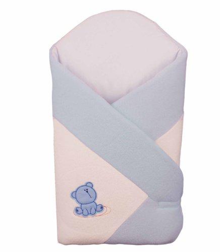 BlueberryShop Thermo Frottee WARME schöne Wickeldecke, Decke, Schlafsack, GESCHENK für Neugeborene 0-4M 100% Baumwolle ( 0-3m ) ( 78 x 78 cm ) Blau