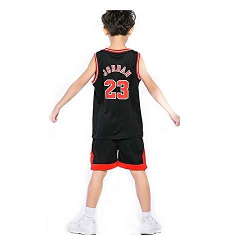 Angel ZYJ Niño NBA Michael Jordan # 23 Chicago Bulls Retro Pantalones Cortos de Baloncesto Camisetas de Verano Uniformes y Tops de Baloncesto (Negro # 23, l)
