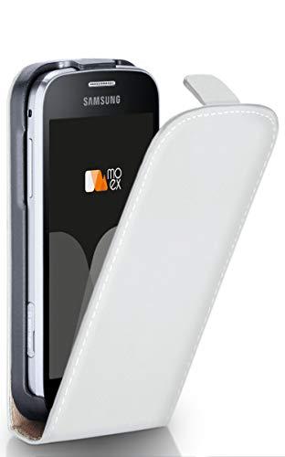 moex Samsung Galaxy Trend Plus | Hülle Weiß 360° Klapp-Hülle Etui Thin Handytasche Dünn Handyhülle für Samsung Galaxy Trend Plus/Trend Case Flip Cover Schutzhülle Kunst-Leder Tasche