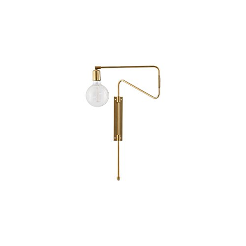 House Doctor Wall lamp, Swing, Brass, E27, Max 25 W, 2.20 m Cable,l: 37 cm, w: 5 cm, h: 65 cm H/l Lampe