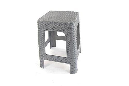 Sitzhocker Hocker Rattan Optik Kunststoff Badhocker Küchenhocker 45x28x28cm Silber-Grau