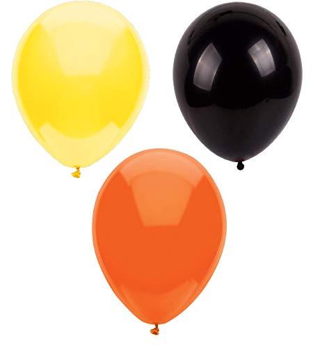 INERRA Globos - Pack of 75 Mezclado (25 X Negro, 25 X Amarillo & 25 X Naranja) Látex 10' For Helio o Aire