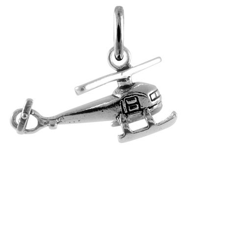 TheCharmWorks Sterling-Silber Hubschrauber Helikopter Charmanhänger | Sterling Silver Helicopter Charm
