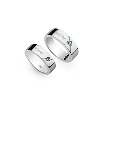 GirlZ! Silver Platinum Plated Couple Matching BLUE Stone Zircon Love Forever Wedding Engagement Rings For Men And Women