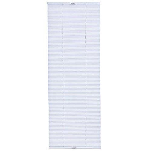 [neu.haus] Klemmfix Plissee (35 x 100 cm) (weiss) - Sonnen- und Lichtschutz - blickdicht (bohren entfällt)