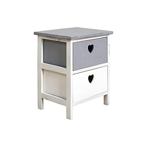 Rebecca Srl Table de chevet Commode 2 Tiroirs DOLCE CASA Bois Blancs Gris Cœur Shabby Chic Chambre Entree (Cod. RE4388)