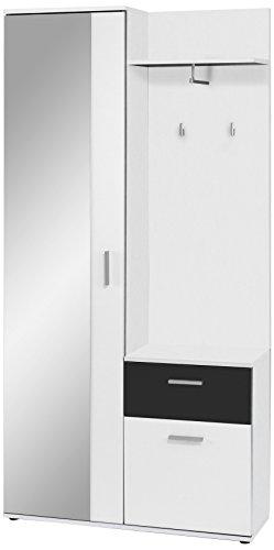 Homexperts Kompaktgarderobe JUSTUS /Korpus Melamin Weiß / Schubladenfront Melamin Schwarz / Spiegeltür /  97x 195x 30 cm (BxHxT) -