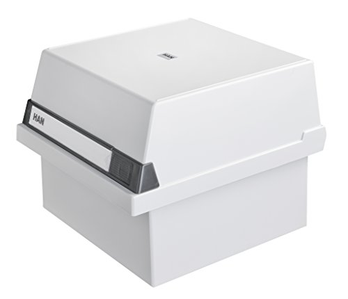 HAN Karteikasten A5 965-11 für 800 Karten, quer - Karteikartenbox in Lichtgrau mit großem Schriftfeld- simpel Ordnung halten