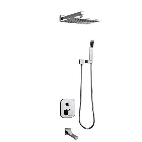 Chrome Air Gap (YZ-YUAN Thermostatventil-Set für Badezimmer mit quadratischem Kopf und Handgriff, 10,12