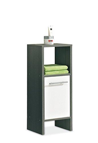 Unterschrank Badezimmerschrank Kommode ORSON 4 | Weiß Hochglanz | Graphit Struktur (Kommode 4 Griffe)