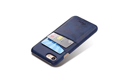 FQIAO Copertina iPhone 7 Plus,PU Pelle Protettivo Telefono Indietro Copertina Durevole Custodia con Due Slot Per Schede per Apple iPhone 7 Plus 5.5 Pollici 2016 Di Rilascio Blu