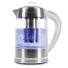Cecotec Hervidor de Agua Eléctrico ThermoSense 370 Clear. 1,7 litros, Libre de BPA, 2200 W, Base 360º, Filtro Antical, Doble Sistema de Seguridad, 1.7 litros, Acero Inoxidable