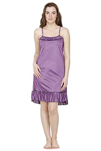 Secret Wish Women's Satin Babydoll Night Dress (Purple, Free Size)  available at amazon for Rs.315
