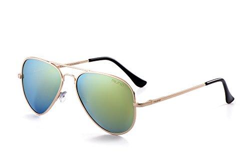 Miuno® Sonnenbrille Polarisiert Polarized Herren Damen Geschenkbox & Brillentuch Aviator Federscharnier 3025 Goldgestell (Goldverspiegelt)