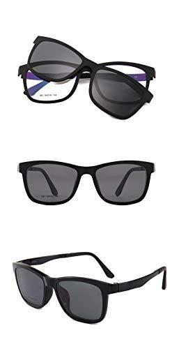 LKVNHP Neue Hochwertige Mode Magnetische Polarisierte Sonnenbrille Männer Frauen Clip Auf Tag Nacht Fahren Sonnenbrille Für Verschreibungspflichtige Fahrer Uv400Mattschwarz Schwarz