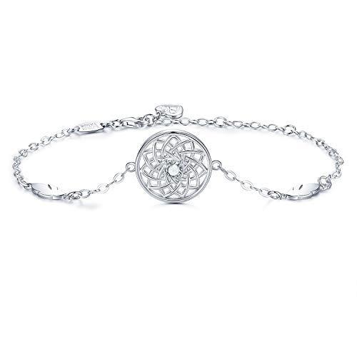 AmorAime - Atrapasueños de plata de ley 925, con plumas, pulsera ajustable, regalo para el día de la madre