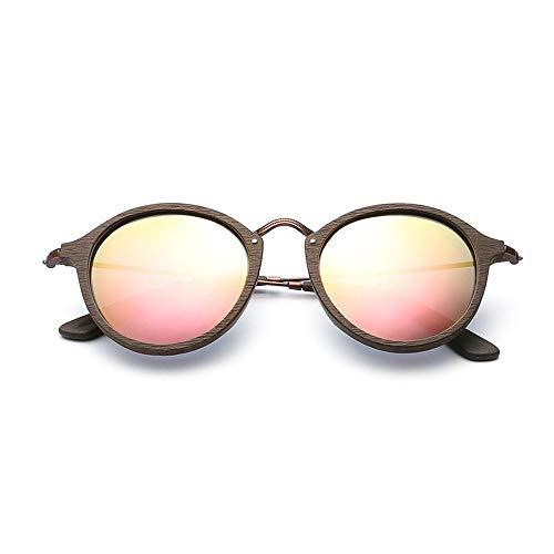 Easy Go Shopping Kleine Rahmen Holz Kreis Rahmen Sonnenbrille Mode polarisierte männer Frauen Sonnenbrille Sonnenbrillen und Flacher Spiegel (Color : Rosa, Size : Kostenlos)