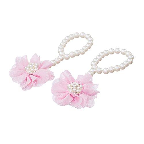 Paire Bébé Chaussures Premiers Pas Mignon de Perles avec Fleur Bracelet Pieds Nus - Rouge Rose