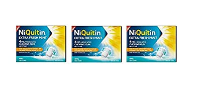 Niquitin Extra Fresh Mint 4mg Medicated Nicotine Gum 3X 200 Gum Boxes = 600 Gums! *Expiry Date END of October 2019* from Niquitin