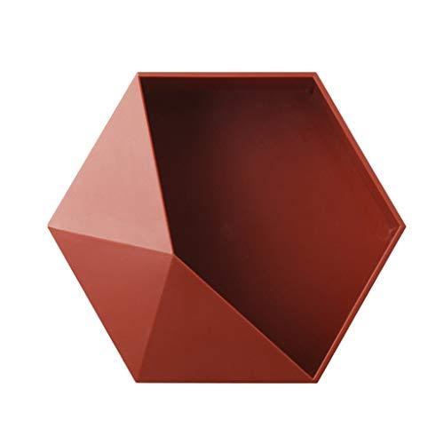 Fxikun - mensole esagonali da parete, stile geometrico, moderno, per soggiorno, bagno, abs, rosso, 10 * 8,7 * 3,3 pouces