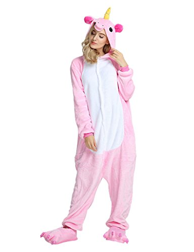 Adulte Kigurumi Unisexe Anime Animal Costume Cosplay Combinaison Pyjama ou Déguisement (M, Unicorn Rose)