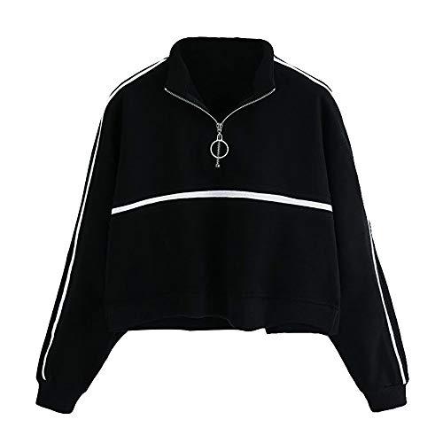 Elecenty Rüschen Langarmshirt Damen,Frauen Reizvolle Sweatshirts Hoodies Kapuzenpullover -