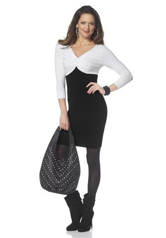 Melrose Strickkleid mit Drapierung schwarz-weiß Größe 38
