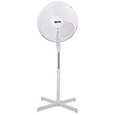 Floor Standing Igenix Pedestal Oscillating 3-Speed Fan with Mesh Safety Grill