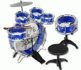 Big Band 11pc Kids Boy Girl Drum Set Musical Instrument Toy Playset Blue