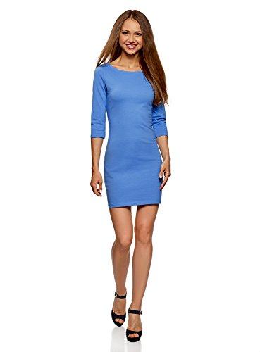 oodji Ultra Damen Baumwoll-Kleid Basic, Blau, DE 38 / EU 40 / M